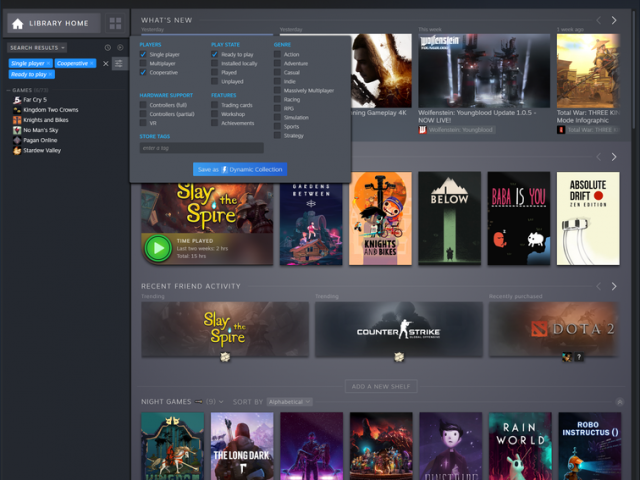 Steam Library redesign makes it more of a personal hub